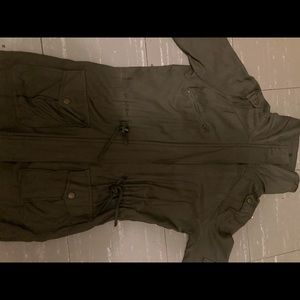 "A ""seaweed"" green utility jacket"